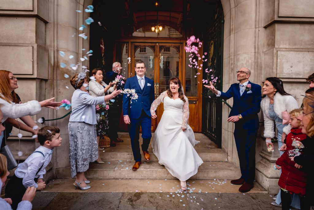 colchester town hall confetti wedding photo at Colchester Town Hall