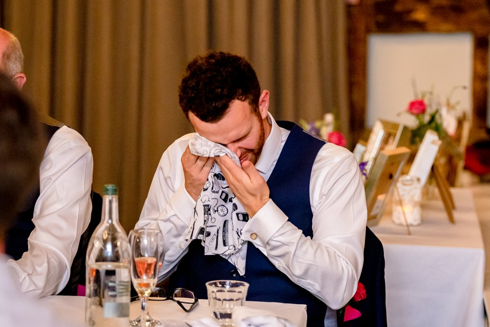 best man crying at wedding speech