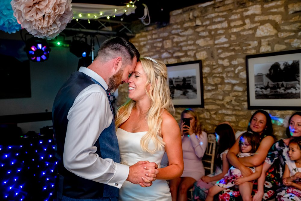bride groom first dance in Essex barn wedding venue
