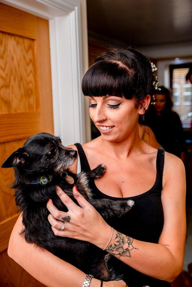 bride with her dog The Warren Estate in Essex