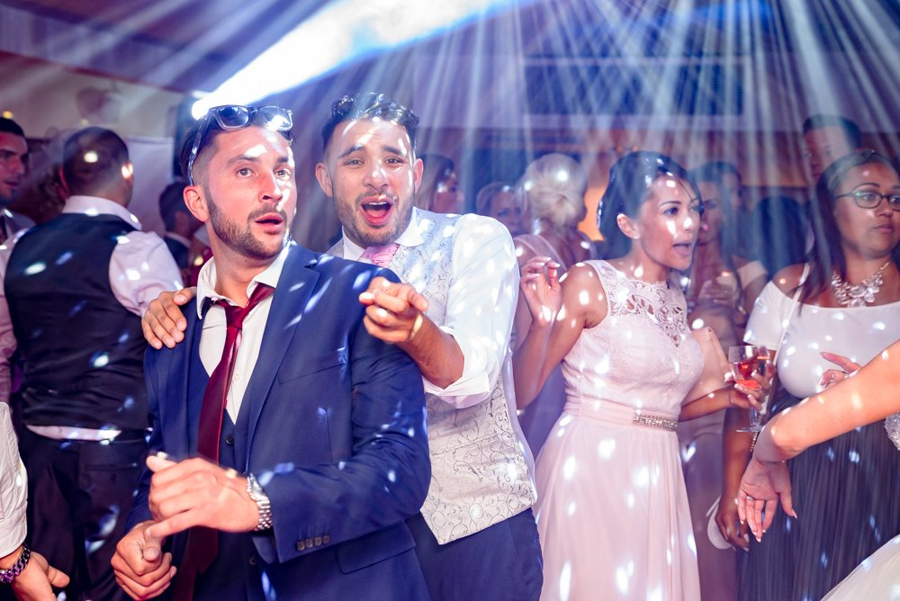 guests dancing at the wedding reception at Stoke Place