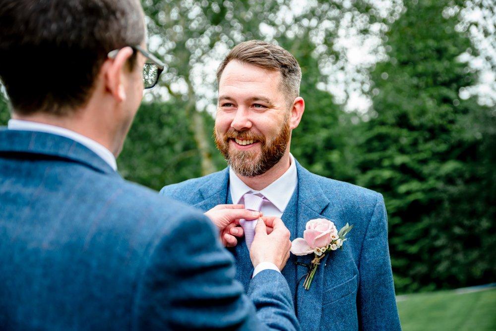 groom blue tweed wedding suit