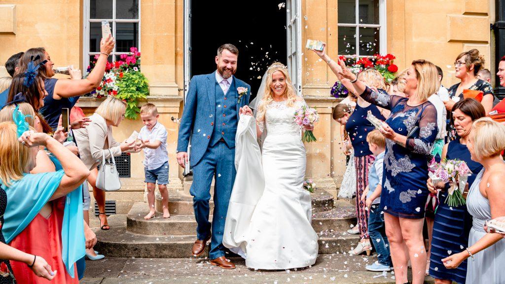 natural confetti wedding photo at town hall