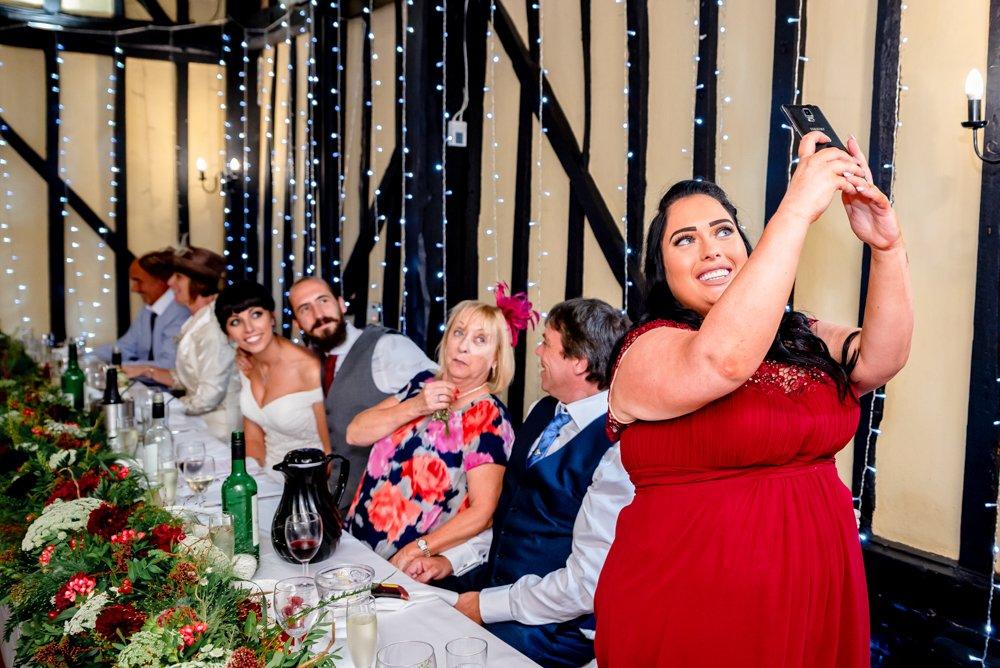 The Warren Essex wedding breakfast selfie at The Warren Estate in Essex
