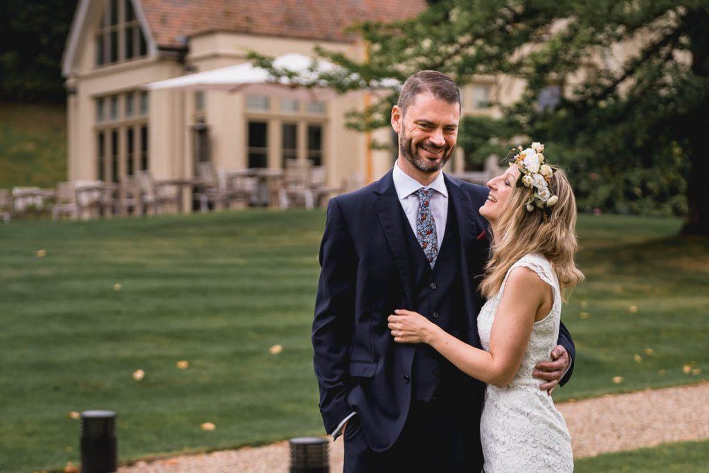 bride and groom wedding photo at Maison Talbooth Essex