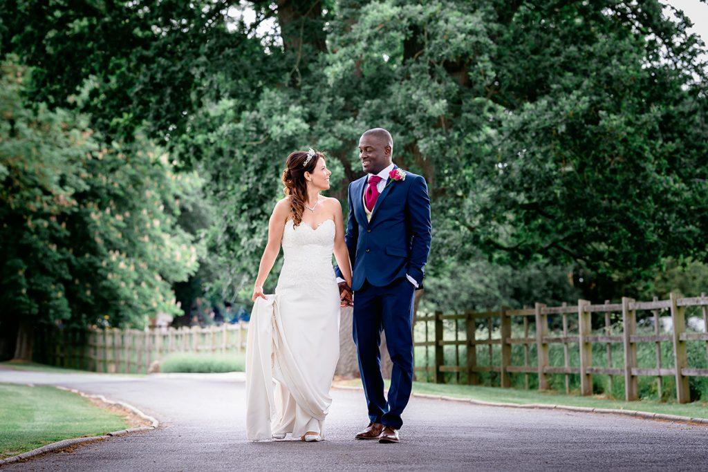 bride and groom wedding photo at Pontlands Park Essex wedding venue